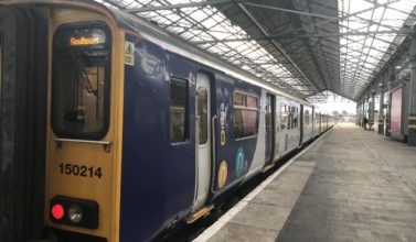 A Northern Southport to Manchester train at the platform at Southport Train Station. Photo by Andrew Brown Media